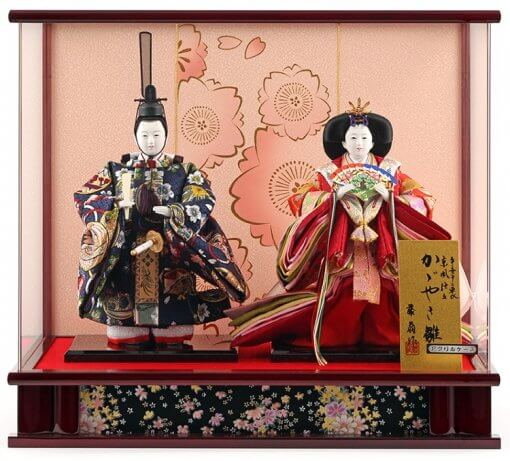 Hina dolls, a Japanese doll, stand-up pair doll set Mitsuki, entire view