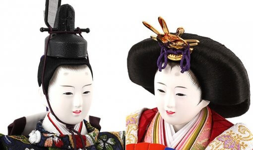 Hina dolls, a Japanese doll, stand-up pair doll set Mitsuki, details of faces