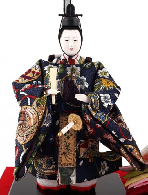 Hina dolls, a Japanese doll, stand-up pair doll set Mitsuki, entire view of the emperor doll