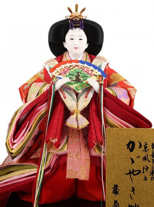 Hina dolls, a Japanese doll, stand-up pair doll set Mitsuki, entire view of the empress doll