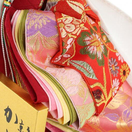 Hina dolls, a Japanese doll, stand-up pair doll set Mitsuki, details of Kimono cloth of the empress doll