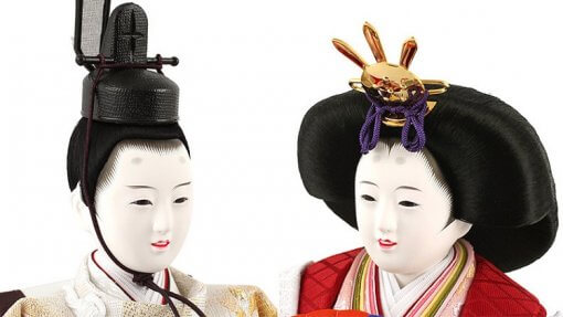 Hina dolls, a Japanese doll, stand-up pair doll set Hatsuki, details of the faces of the dolls