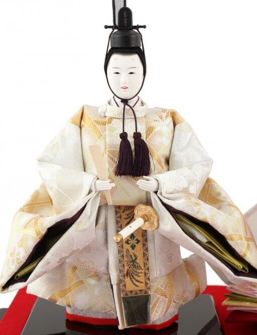 Hina dolls, a Japanese doll, stand-up pair doll set Hatsuki, entire view of the emperor doll