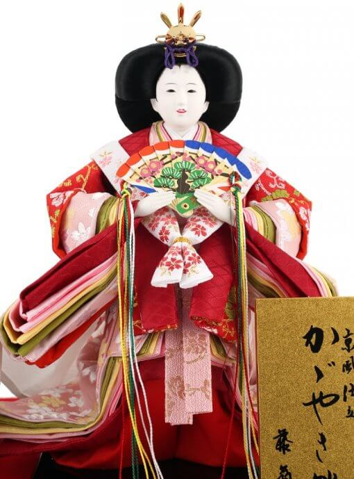 Hina dolls, a Japanese doll, stand-up pair doll set Hatsuki, entire view of the empress doll