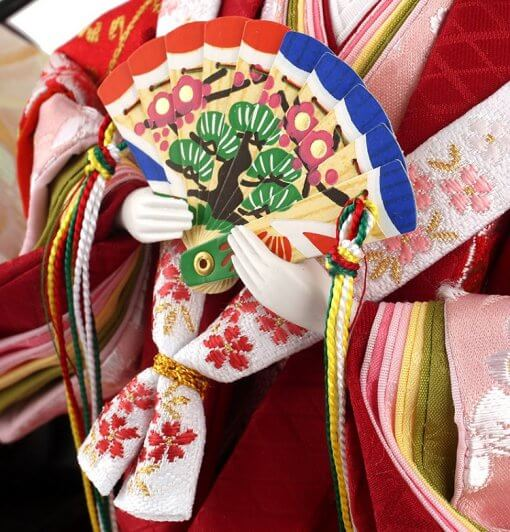 Hina dolls, a Japanese doll, stand-up pair doll set Hatsuki, details of fan held by the empress doll