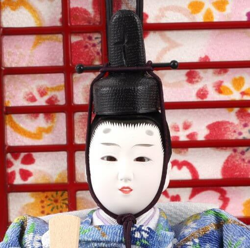 Hina dolls, a Japanese doll, gorgeous pair dolls set Yuna LED, details of face of the emperor doll