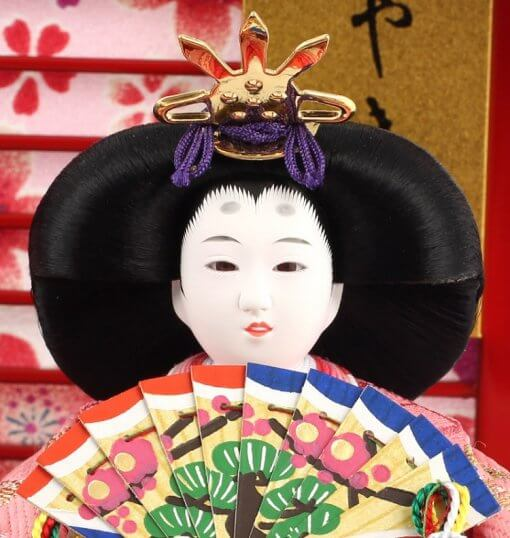 Hina dolls, a Japanese doll, gorgeous pair dolls set Yuna LED, details of face of the empress doll