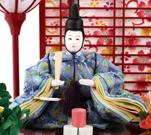 Hina dolls, a Japanese doll, gorgeous pair dolls set Yuna LED, entire view of the emperor doll