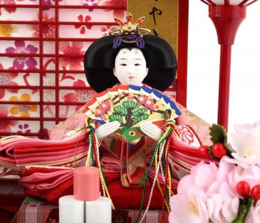 Hina dolls, a Japanese doll, gorgeous pair dolls set Yuna LED, entire view of the empress doll
