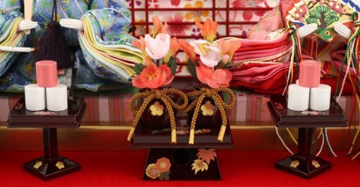 Hina dolls, a Japanese doll, gorgeous pair dolls set Yuna LED, details of flower ornaments