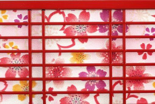 Hina dolls, a Japanese doll, gorgeous pair dolls set Yuna LED, details of background lattice ornamnet