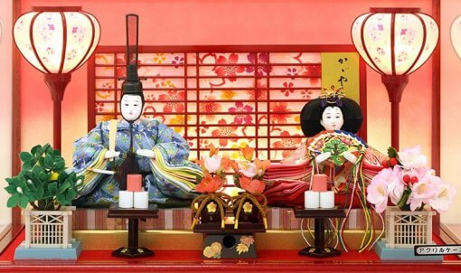 Hina dolls, a Japanese doll, gorgeous pair dolls set Yuna LED, details of the emperor and the empress doll