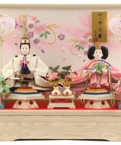Hina dolls, a Japanese doll, gorgeous pair doll set Hagoromo white, entire view