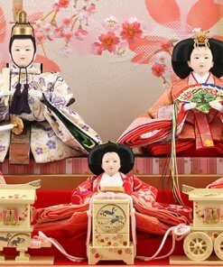 Hina dolls, a Japanese doll, gorgeous 5 dolls set Wakana, details of dolls inside the case