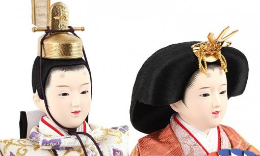 Hina dolls, a Japanese doll, gorgeous 5 dolls set Wakana, faces of the emperor and the empress dolls