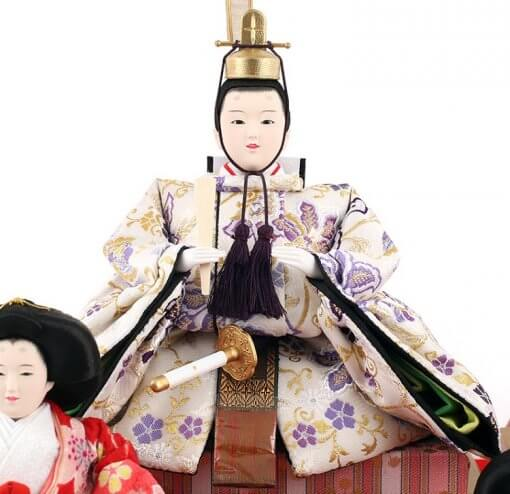 Hina dolls, a Japanese doll, gorgeous 5 dolls set Wakana, entire view of the emperor doll