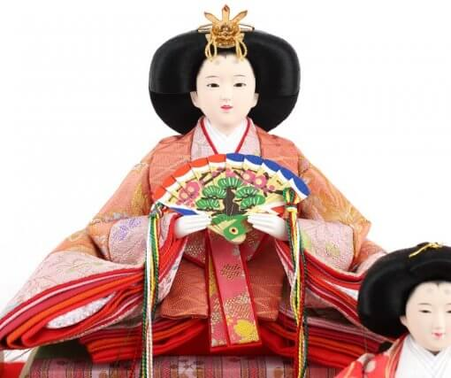 Hina dolls, a Japanese doll, gorgeous 5 dolls set Wakana, entire view of the empress doll