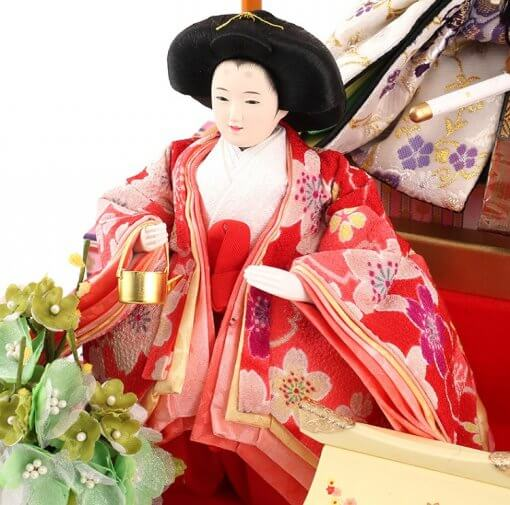 Hina dolls, a Japanese doll, gorgeous 5 dolls set Wakana, entire view of one of the three court ladies (A)