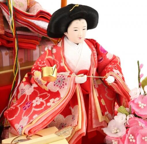 Hina dolls, a Japanese doll, gorgeous 5 dolls set Wakana, entire view of one of the three court ladies (C)