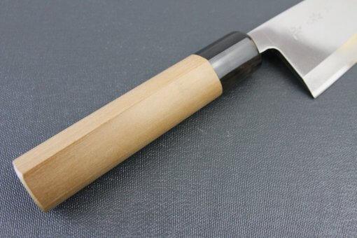 Japanese professional chef knife, Deba fillet knife, steel 180mm, handle details