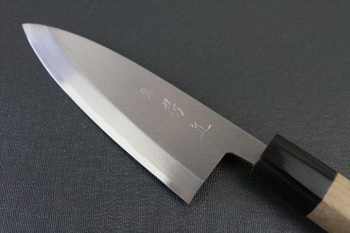 Japanese professional chef knife, left-handed Deba fillet knife, steel 150mm, details of blade front side