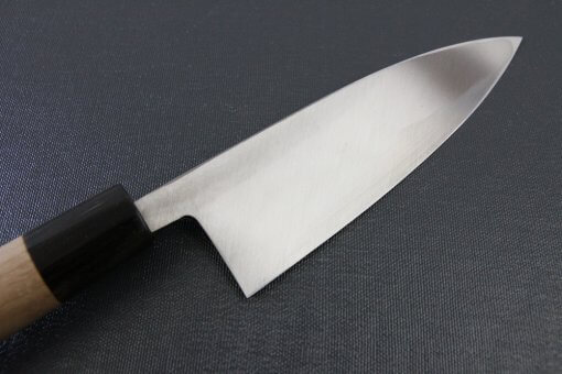 Japanese professional chef knife, left-handed Deba fillet knife, steel 150mm, details of blade backside