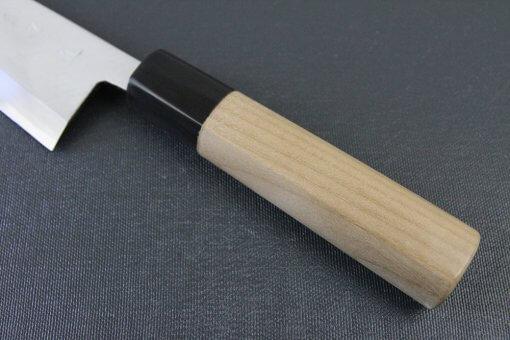 Japanese professional chef knife, left-handed Deba fillet knife, steel 150mm, handle details