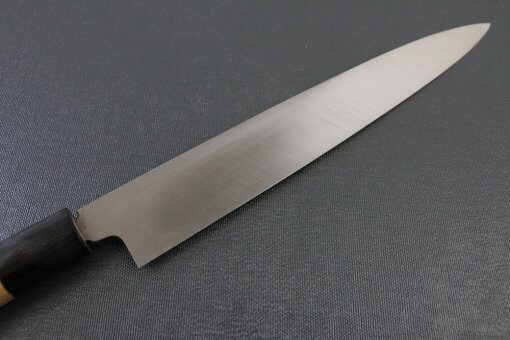 Japanese professional chef knife, left-handed Yanagiba Sushi knife, 1st grade 240mm, details of blade backside