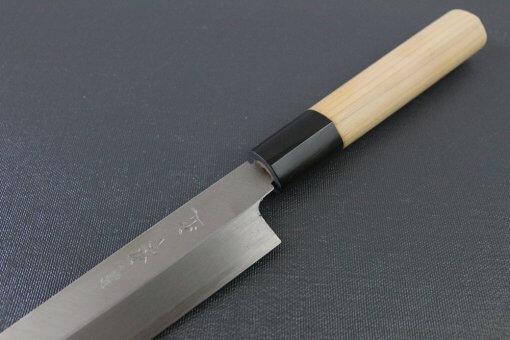Japanese professional chef knife, left-handed Yanagiba Sushi knife, 1st grade 240mm, diagonal front view