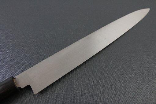 Japanese professional chef knife, left-handed Yanagiba Sushi knife, 1st grade 270mm, details of blade backside