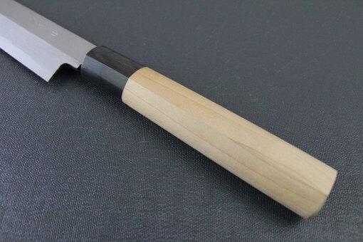 Japanese professional chef knife, left-handed Yanagiba Sushi knife, 1st grade 270mm, handle details