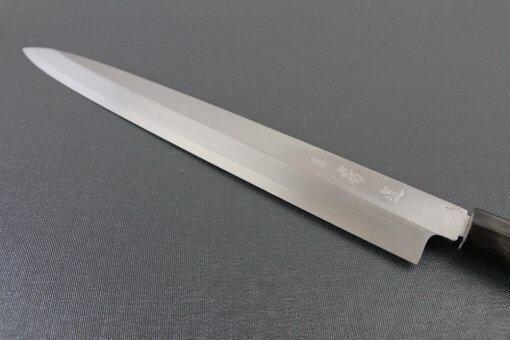 Japanese professional chef knife, left-handed Yanagiba Sushi knife, 1st grade 300mm, details of blade front side