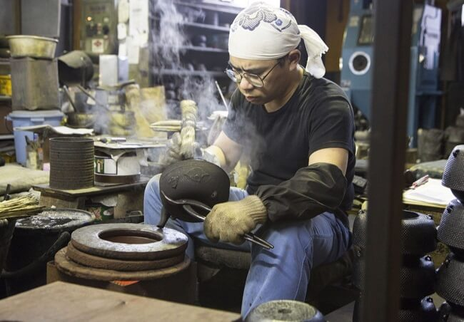 Nambu Ironware, Japanese traditional crafts, craftsman making by traditional technique