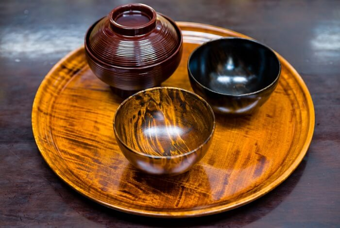 Naruko Lacquerware, Japanese traditional crafts in Tohoku, tray and soup bowls