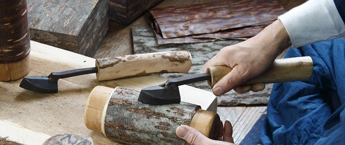 Japanese crafts, Birch woodwork, a step of making process