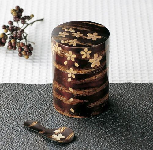 Japanese crafts, Birch woodwork, tea pod product with some decorations