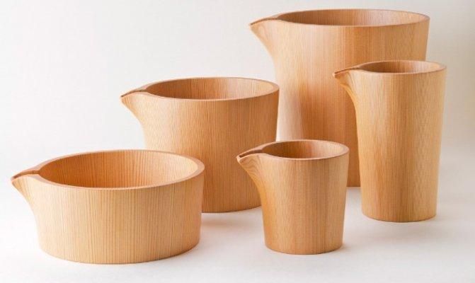 Akita Cedar barrel, Japanese traditional crafts, good smell Sake cups