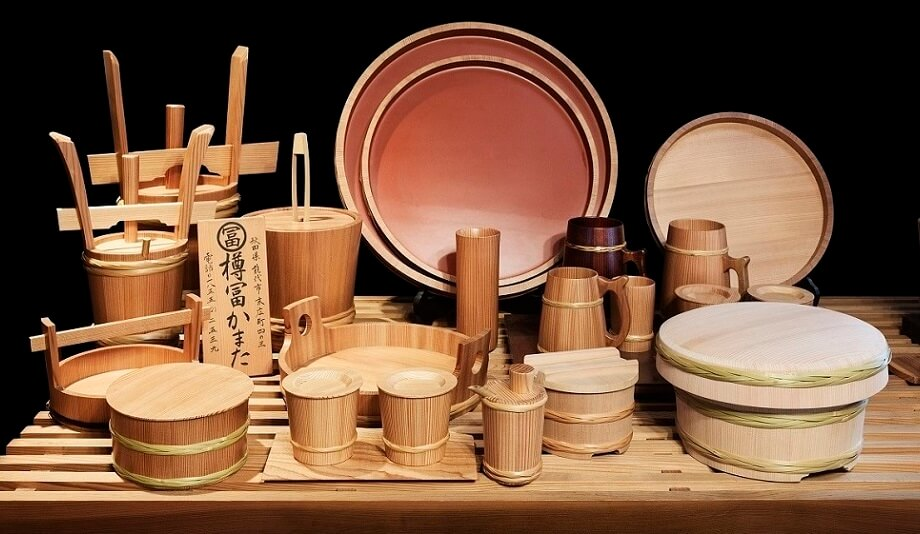 Akita Cedar barrel, Japanese traditional crafts, products lineup of a famous shop