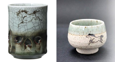 Obori Soma Pottery, a japanese kogei craft, tea cup and Sake cup