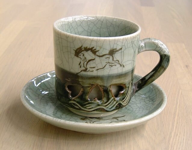 Obori Soma Pottery, a japanese kogei craft, coffee cup and saucer