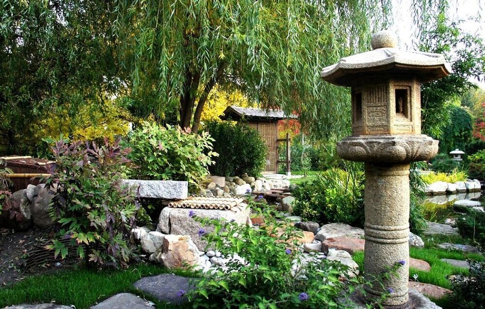 Traditional Makabe Stone Lanterns of Japan, lantern in Japanese garden