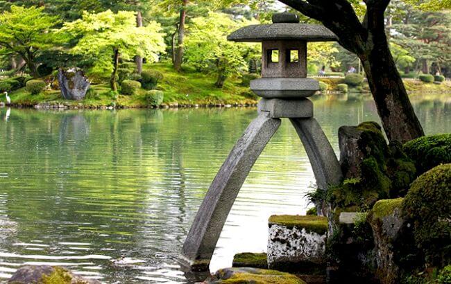 Traditional Makabe Stone Lanterns of Japan, in Kenrokuen Kanazawa