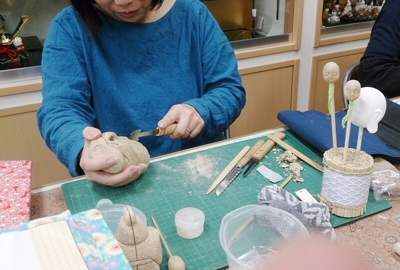 Edo-kimekomi Japanese Doll, traditional crafts, doll making class held by a factory