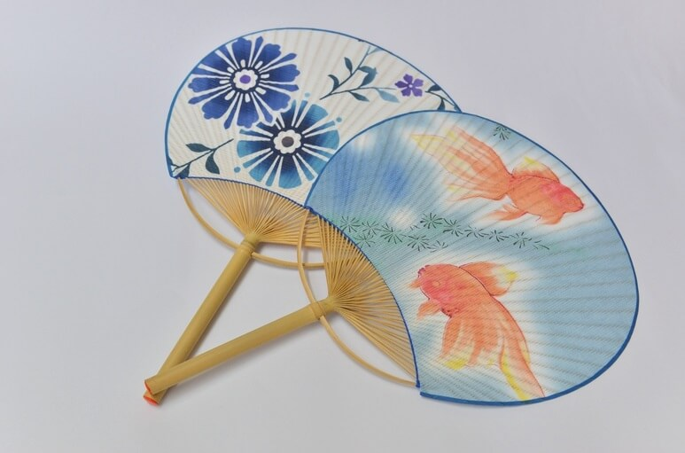 Boshu Uchiwa Fans, Japanese traditional craft, some nice designs: gold fish and flowers