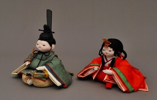 Edo Sekku Dolls, a Japanese Traditional Craft of Tokyo, a pair of Hina dolls diagonal front view