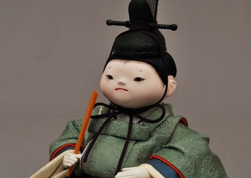Edo Sekku Dolls, a Japanese Traditional Craft of Tokyo, Hina doll prince diagonal front view