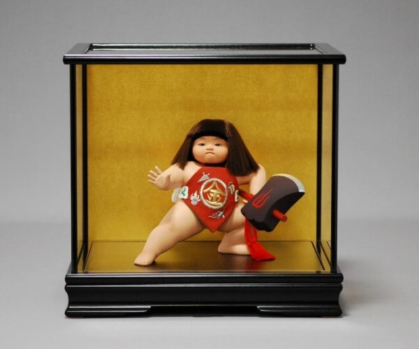 Edo Sekku Dolls, a Japanese Traditional Craft of Tokyo, Kintaro doll in a show case