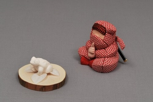 Edo Sekku Dolls, a Japanese Traditional Craft of Tokyo, Ninja doll with frog
