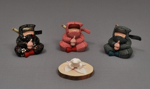 Edo Sekku Dolls, a Japanese Traditional Craft of Tokyo, three Ninja dolls with a frog