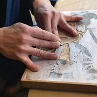 Ukiyo-e, Japanese art of Edo woodprint, making step carving